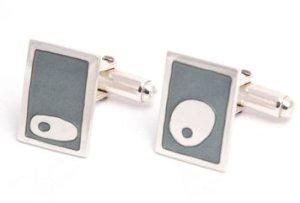 turquoise grey enamel ameoba cufflinks by Elizabeth Anne Norris