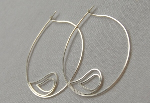 Simple silver frond hoops