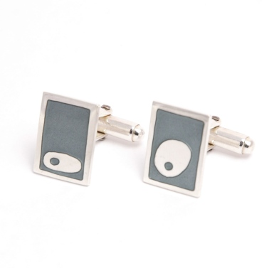 Ameoba Cufflinks - Silver and Enamel