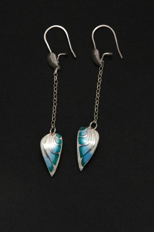 Petal Earrings - Silver and Enamel