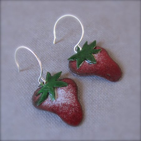 Beth Millner Enameled Strawberry Earrings