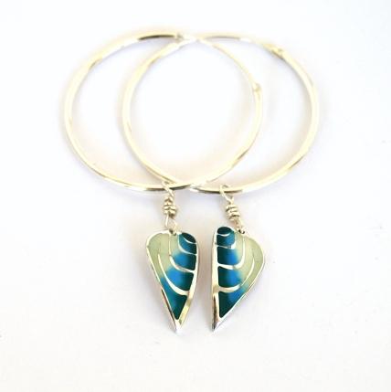 Blue Green Angel Wing Hoops by Elizabeth Anne Norris