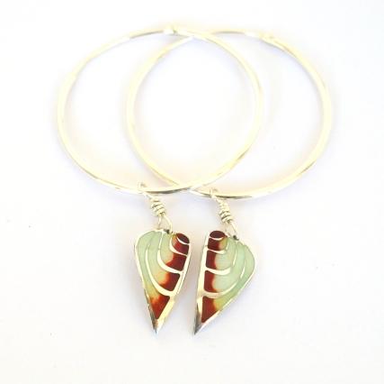 Red Angel Wing Hoops by Elizabeth Anne Norris