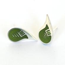Mossy Retro Silver Enamel Earrings