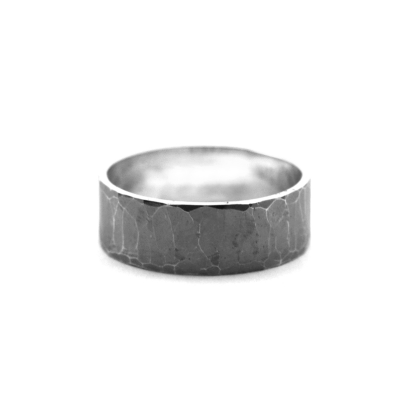 Chunky Hammered Oxidised Silver Ring
