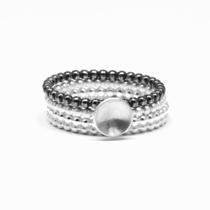 4 Pearl Wire Stack Rings 2mm-008