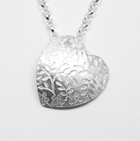 Floral Heart Sterling Silver Necklace - 5