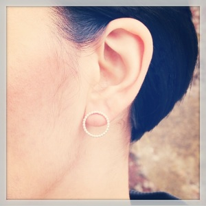 Matt Pearlwire Silver Circle Earrings