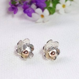 Flower Earrings Rose Gold